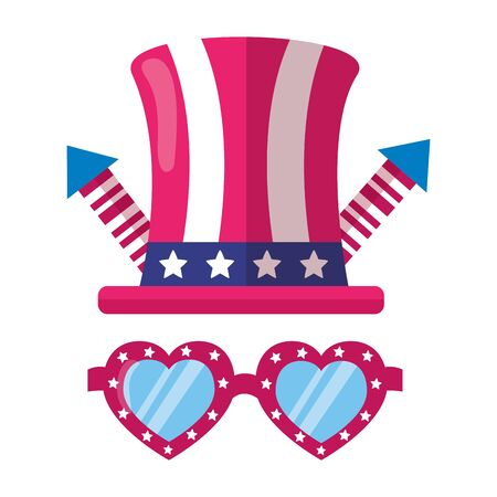heart shaped sunglasses hat fireworks american happy independence day vector illustration