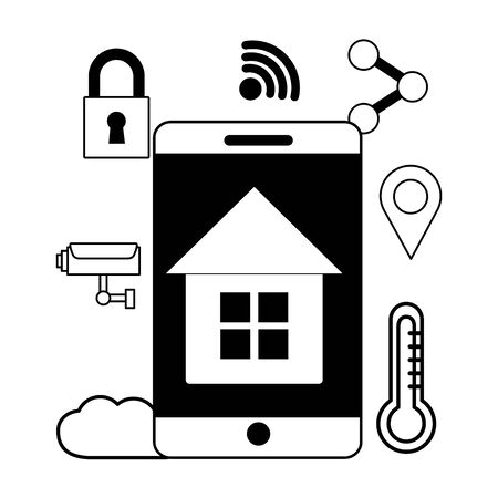 smartphone smart house app wifi free connection vector illustration Ilustração