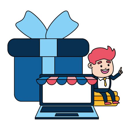 businessman laptop money gift online payment vector illustration Çizim