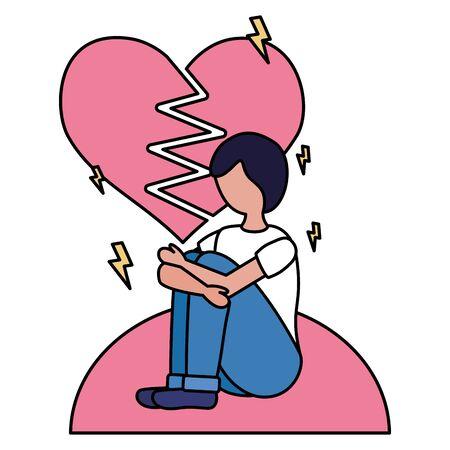 heart break man with mental psychological depressed vector illustration