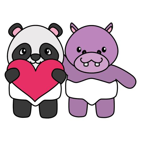 cute little bear panda and hippo with heart vector illustration design