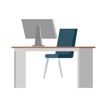 office desk with desktop workplace scene vector illustration design