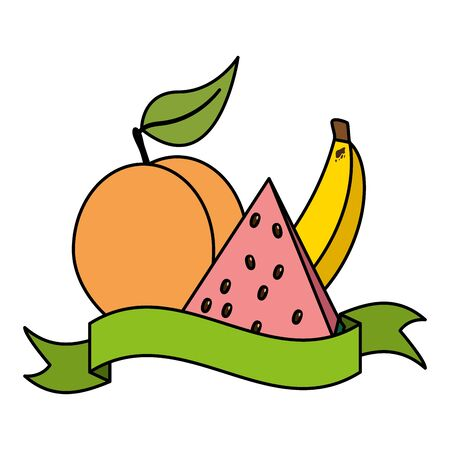 watermelon peach banana tropical fruits banner sticker vector illustration Stok Fotoğraf - 130088214
