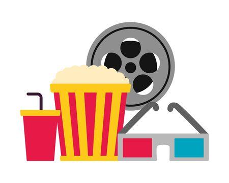popcorn soda 3d glasses reel film cinema movie vector illustration Illustration