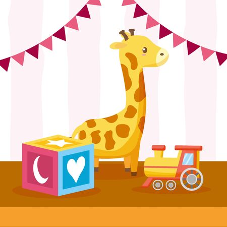toys giraffe train cube baby shower card vector illustration Фото со стока - 130088233