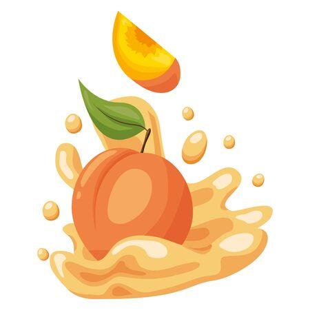 peach juice splash tropical fruits vector illustration