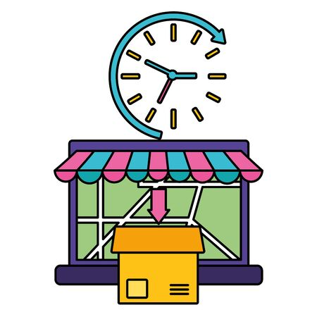 laptop cardboard box order clock fast delivery logistic vector illustration