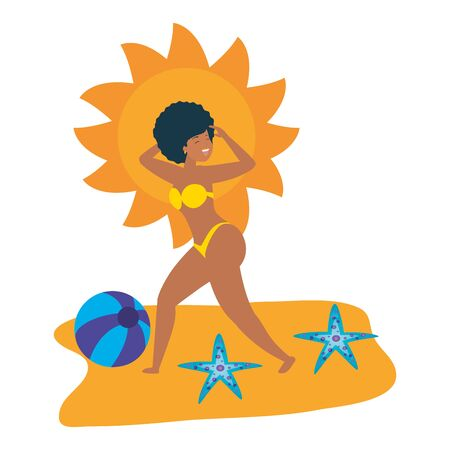 summer time holiday woman beach beachball sun starfishes vector illustration