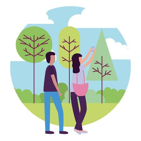 man and woman with smartphone selfie activities outdoors vector illustration
