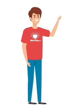 young man volunteer character vector illustration design 일러스트