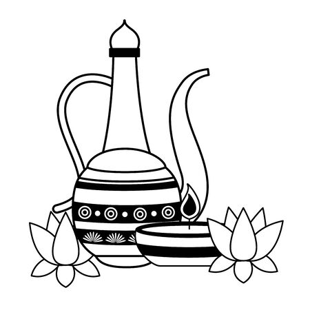 indian lotus with indian jar vector illustration design Ilustração