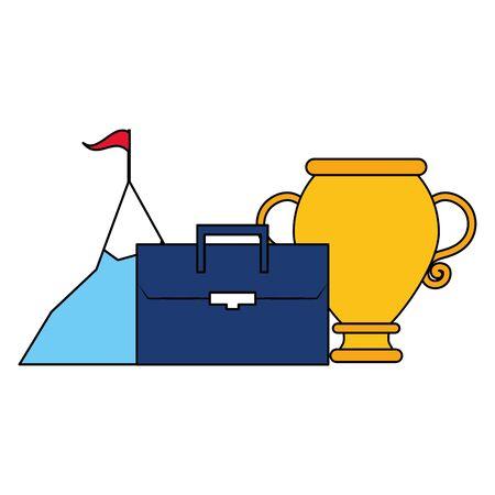 business trophy suitcase mountain start success vector illustration
