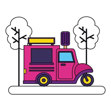 food truck ice cream park street trees vector illustration