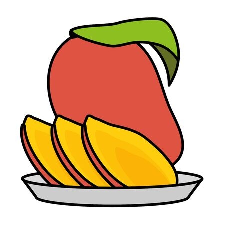 mango slice tropical fruits in dish vector illustration Фото со стока - 130135428