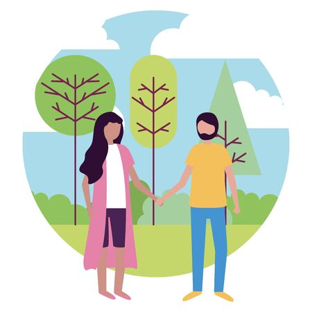 man and woman holding hands activities outdoors vector illustration Illustration