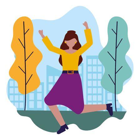 celebrating woman in the city park vector illustration Illustration