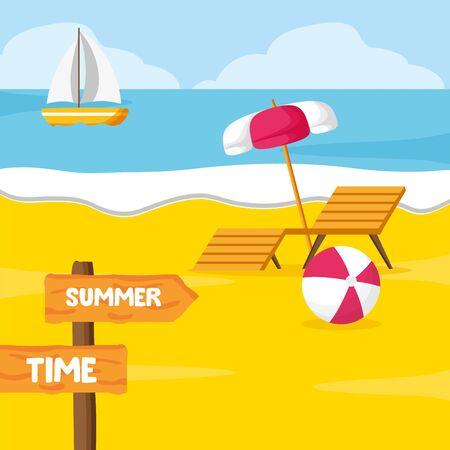 summer time holiday beach deck chair umbrella ball