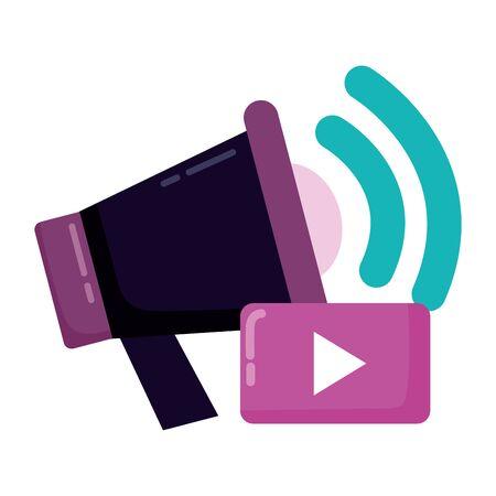 megaphone social media marketing announce vector illustration
