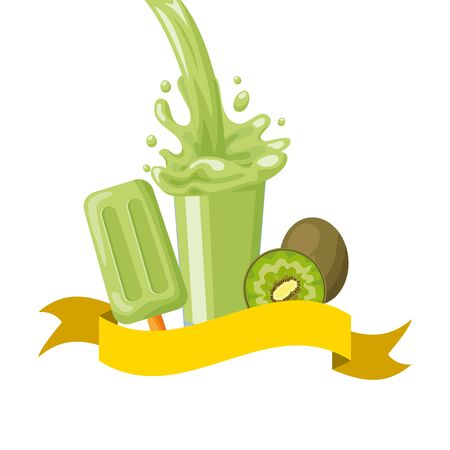 kiwi juice ice cream splash tropical fruits vector illustration