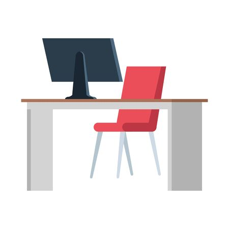 office desk with desktop workplace scene vector illustration design 스톡 콘텐츠 - 130131963
