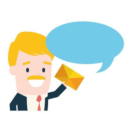 businessman with envelope talk bubble send email vector illustration