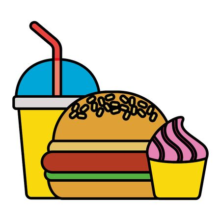 fast food burger cupcake soda vector illustration