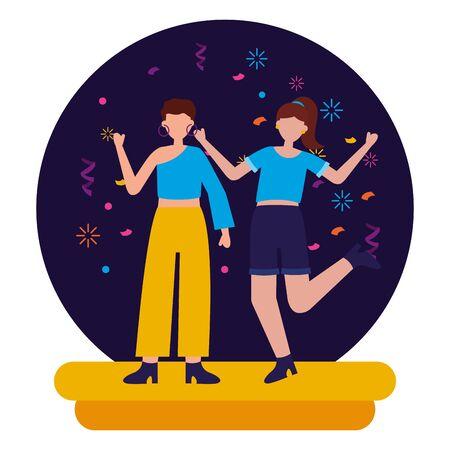 happy women celebration party birthday vector illustration