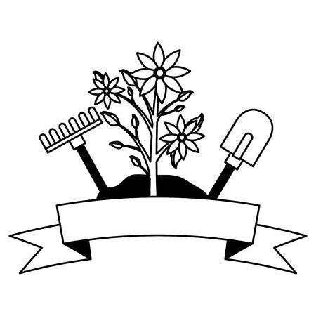 kwiaty grabie łopata narzędzia dekoracja ogrodnictwo płaska ilustracja wektorowa