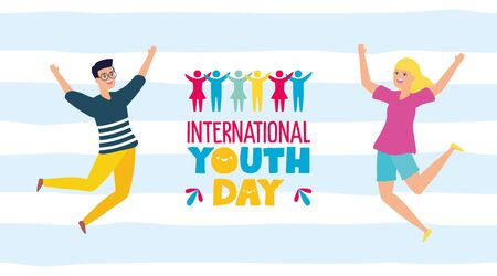 woman and man celebrating happy youth day flat design vector illustration