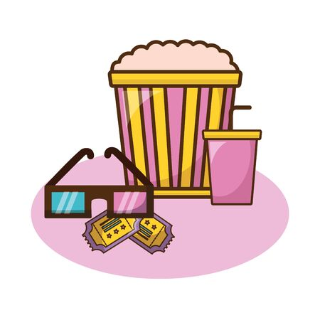 Cinema icon set design, Movie video film media entertainment show and event theme Vector illustration