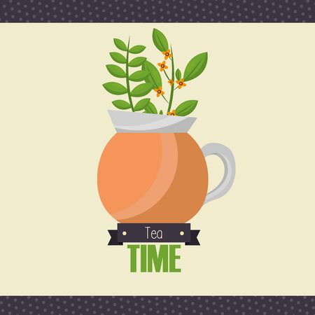 Tea pot design, Drink breakfast beverage tradition kitchen and aromatic theme Vector illustration