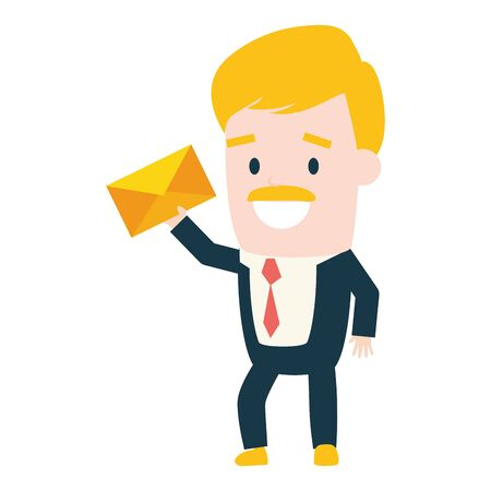 businessman with envelope send email vector illustration Stock Vector - 130132212