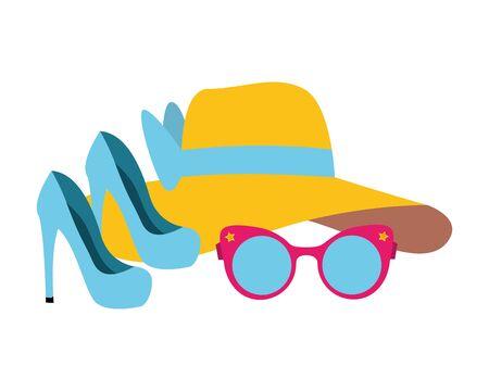 pop art elements high heel shoes hat eyeglasses vector illustration