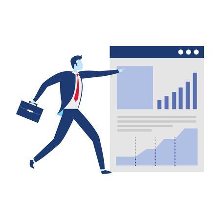 businessman website report diagram business success vector illustration 일러스트