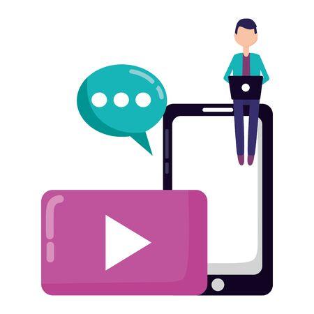 man laptop mobile chat devices social media vector illustration  イラスト・ベクター素材