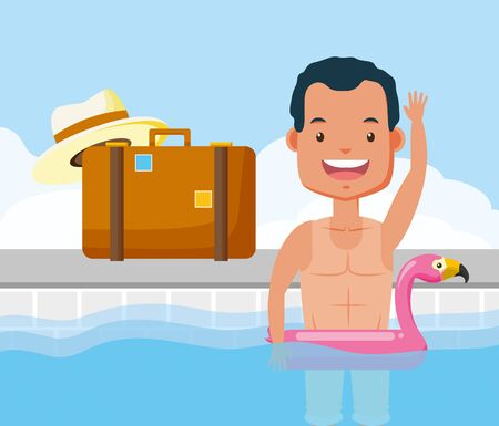 man bathing in pool with float flamingo suitcase hat vacations summer time vector illustration