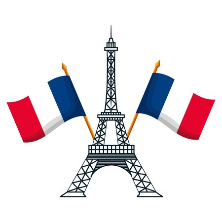 eiffel tower with flags of france happy bastille day flat design vector illustration  イラスト・ベクター素材