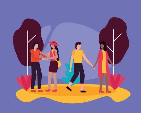 couples activities park outdoors flat design vector illustration