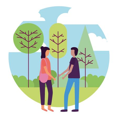 man and woman holding hands activities outdoors vector illustration Ilustração