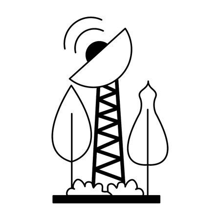 renewable energy antenna tree forest vector illustration