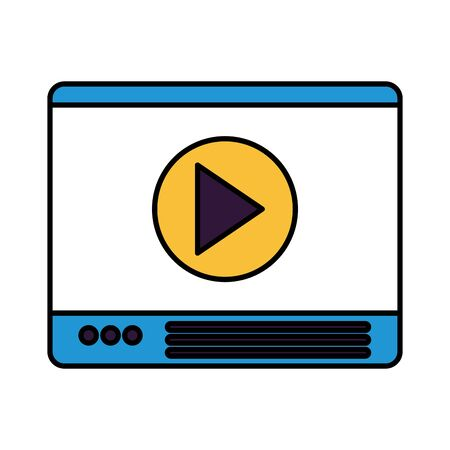 website video player on white background vector illustration