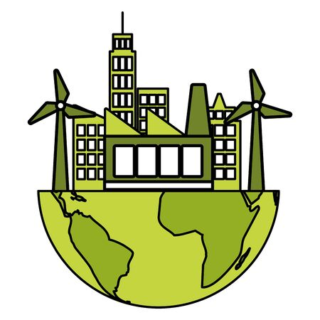 city factory windmill planet eco friendly environment vector illustration Archivio Fotografico - 130132409