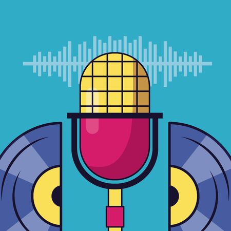 microphone and vinyl record festival music poster vector illustration