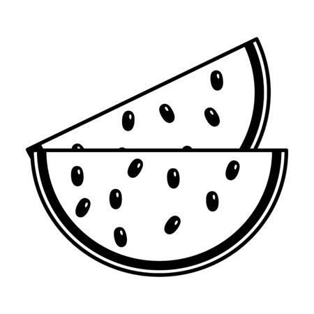slice watermelon fruit on white background vector illustration