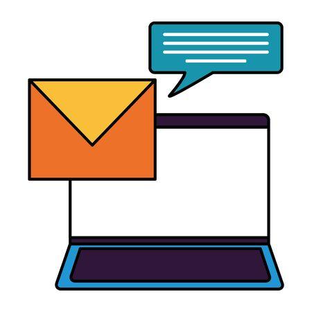 laptop computer email speech bubble vector illustration