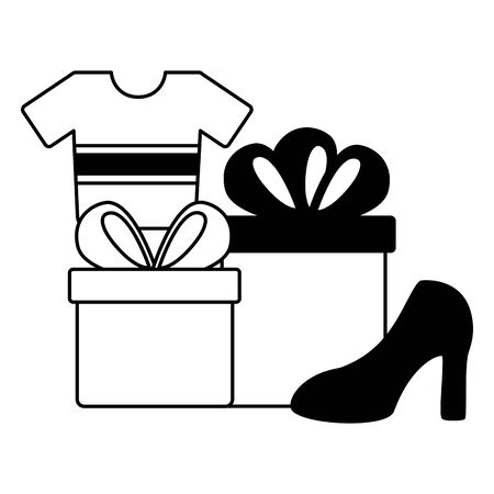 online shopping ecommerce shoe shirt and gifts vector illustration