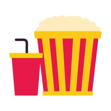 popcorn and soda cinema movie vector illustration