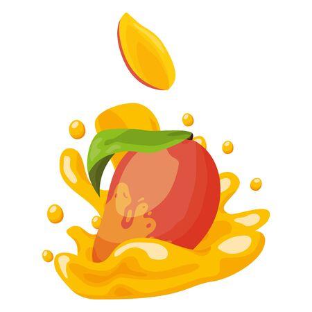 süße Mangosaft Spritzer tropische Früchte Vektor-Illustration