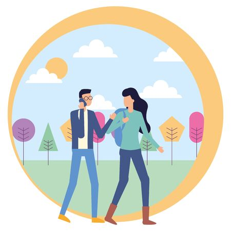 man using smartphone and woman with bag outdoors vector illustration Ilustração