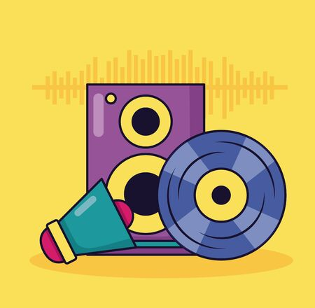 vinyl speaker megaphone music colorful background vector illustration Ilustrace